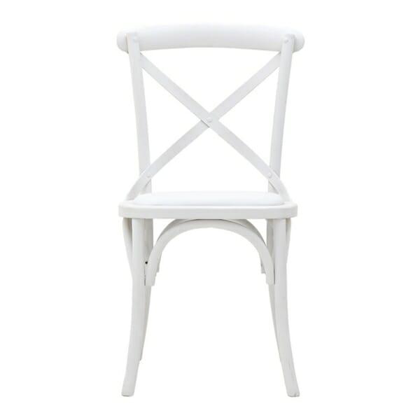 Трапезен стол бистро в бяло - отпред
