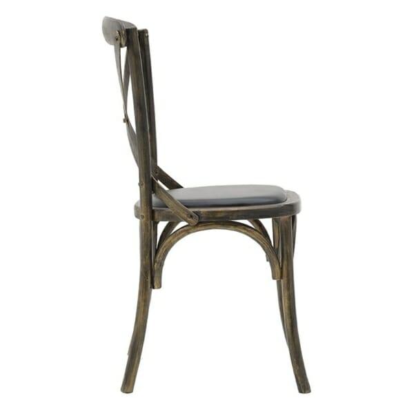 Трапезен стол бистро в черно - отстрани
