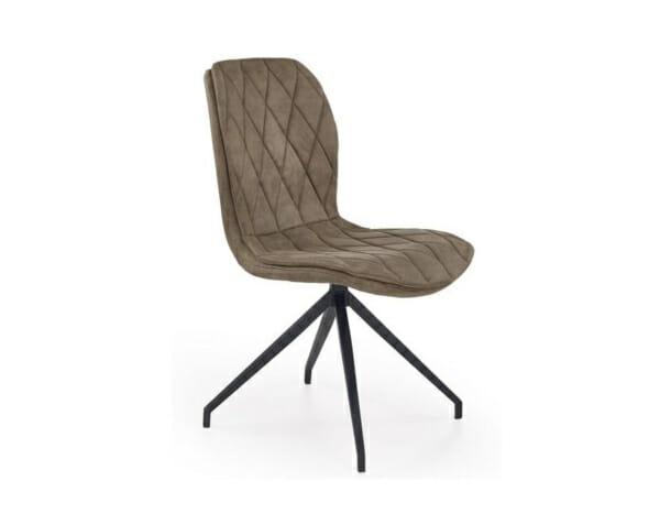 Бежов стол от еко кожа на ромбове и метална основа