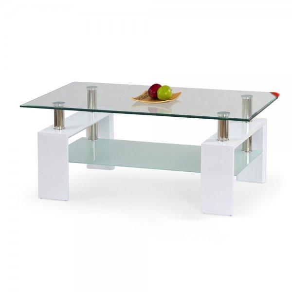 Бяла стъклена холна маса с втори плот