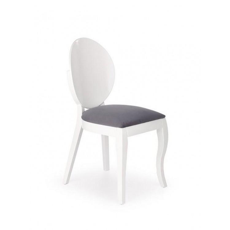 Бял трапезен стол от дърво с кръгла облегалка
