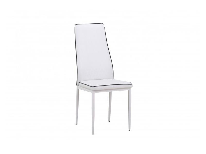 Бял трапезен стол от еко кожа, с метални крака