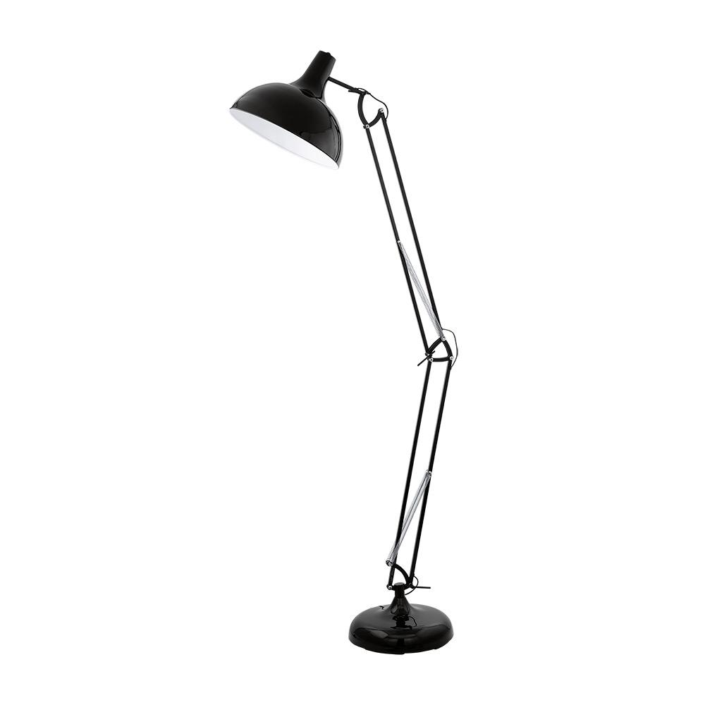 Висок черен лампион с регулируема височина серия Borgillio