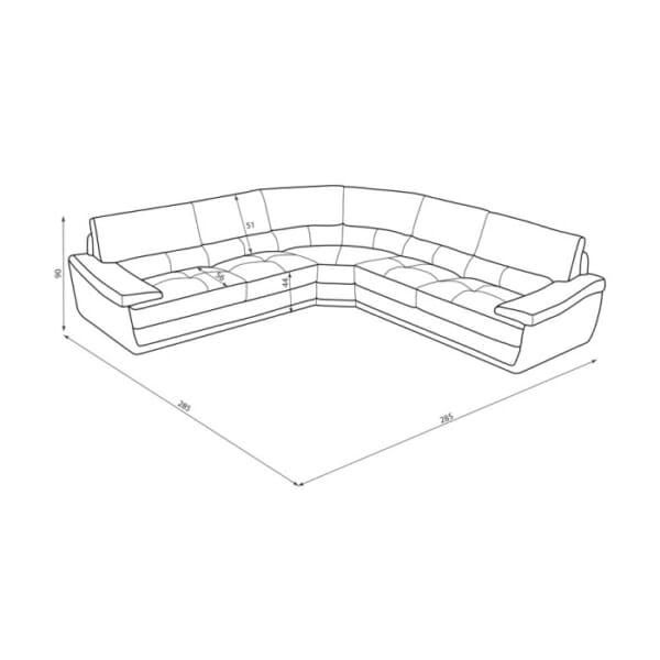 Размери на ъгловия диван