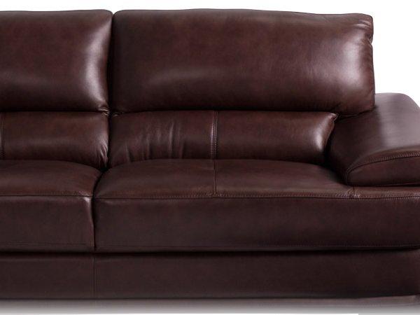 Голям ъглов диван от естествена кожа - цвят кестен, снимка отблизо
