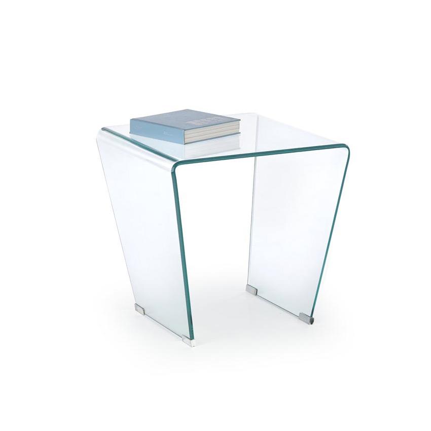 Декоративна стъклена масичка с квадратен плот