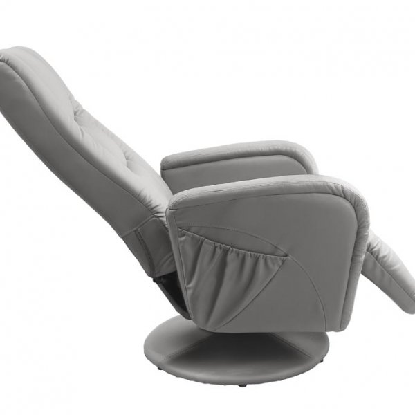 Елегантен сив фотьойл от еко кожа-снимка отстрани