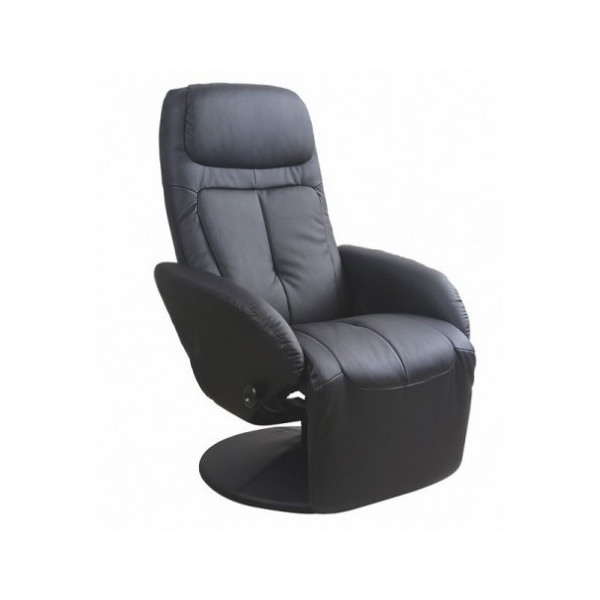 Елегантен черен релакс фотьойл от еко кожа