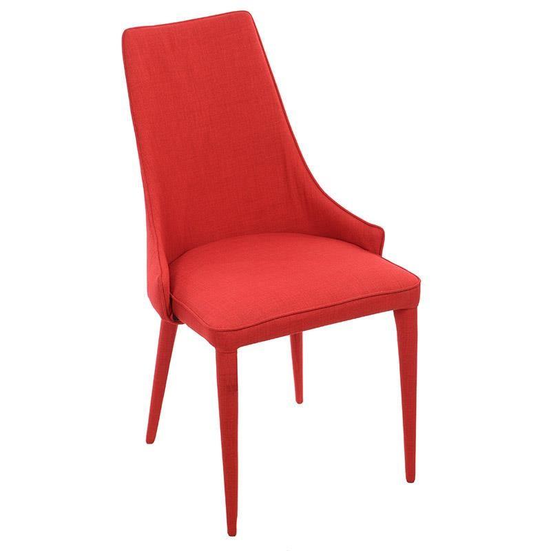 Изцяло тапициран стол с извита облегалка в червено