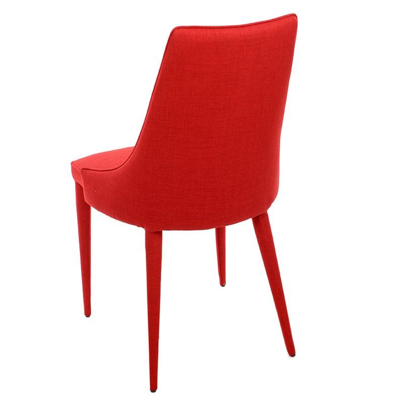 Изцяло тапициран стол с извита облегалка в червено - отзад