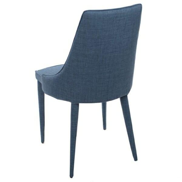 Изцяло тапициран стол с извита облегалка в синьо - отзад