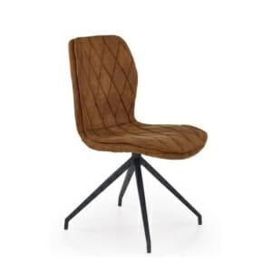 Кафяв стол от еко кожа на ромбове и метална основа