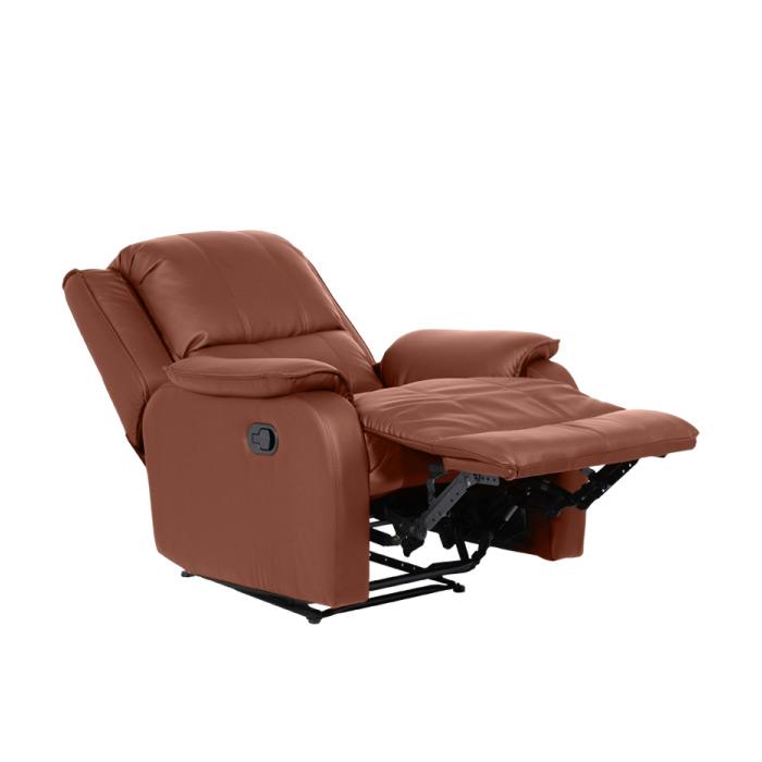 Кафяв фотьойл от еко кожа с релакс механизъм-снимка с разпънат механизъм