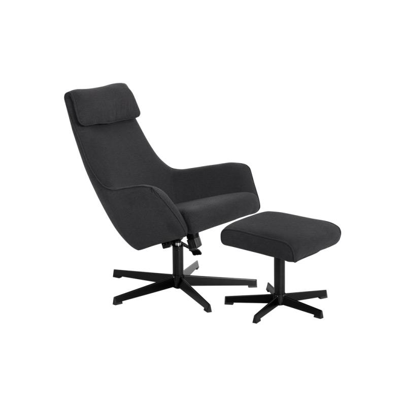 Кресло с люлееща функция и табуретка-цвят асфалтово сив