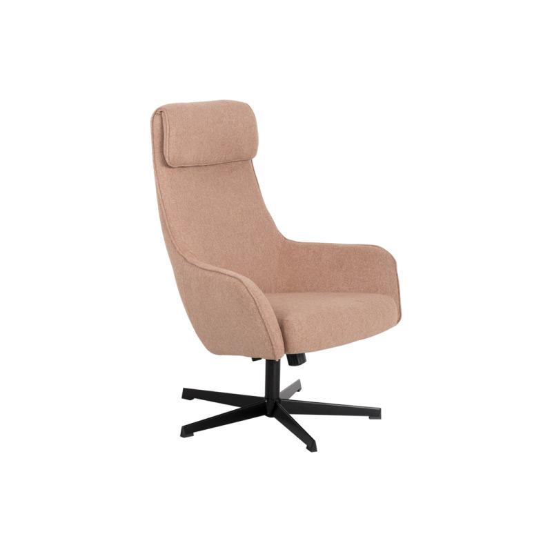 Кресло с люлееща функция и табуретка-цвят златно бежов, снимка отстрани