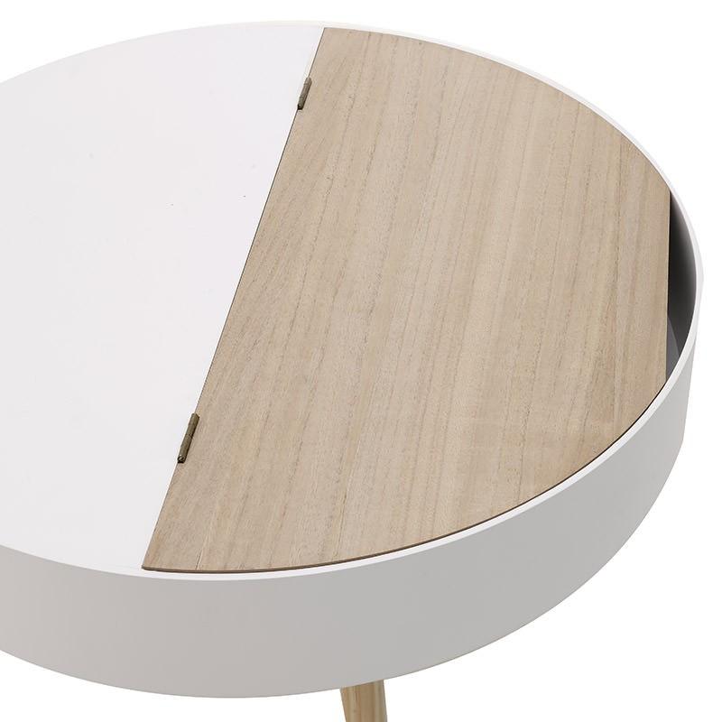 Кръгла холна масичка в бяло и светло дърво