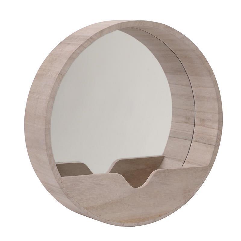 Кръгло огледало с дървена рамка с джоб
