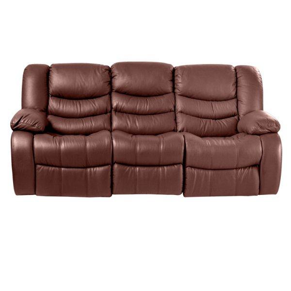 Луксозен троен кожен диван цвят кестен-снимка отпред
