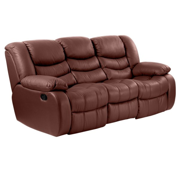 Луксозен троен кожен диван цвят кестен-отстрани