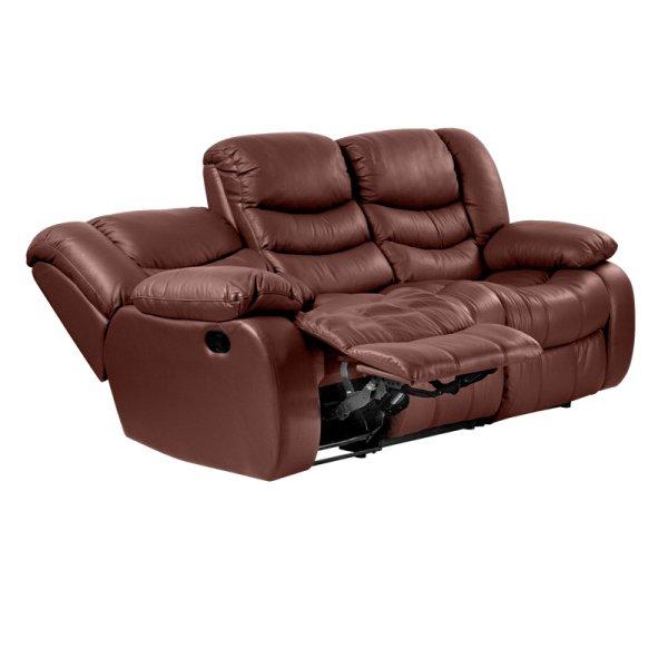 Луксозен троен кожен диван цвят кестен-механизми