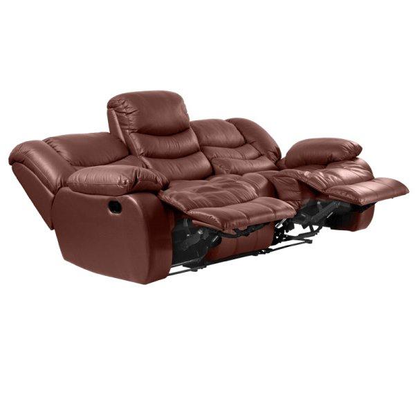 Луксозен троен кожен диван цвят кестен-пуснати-механизми