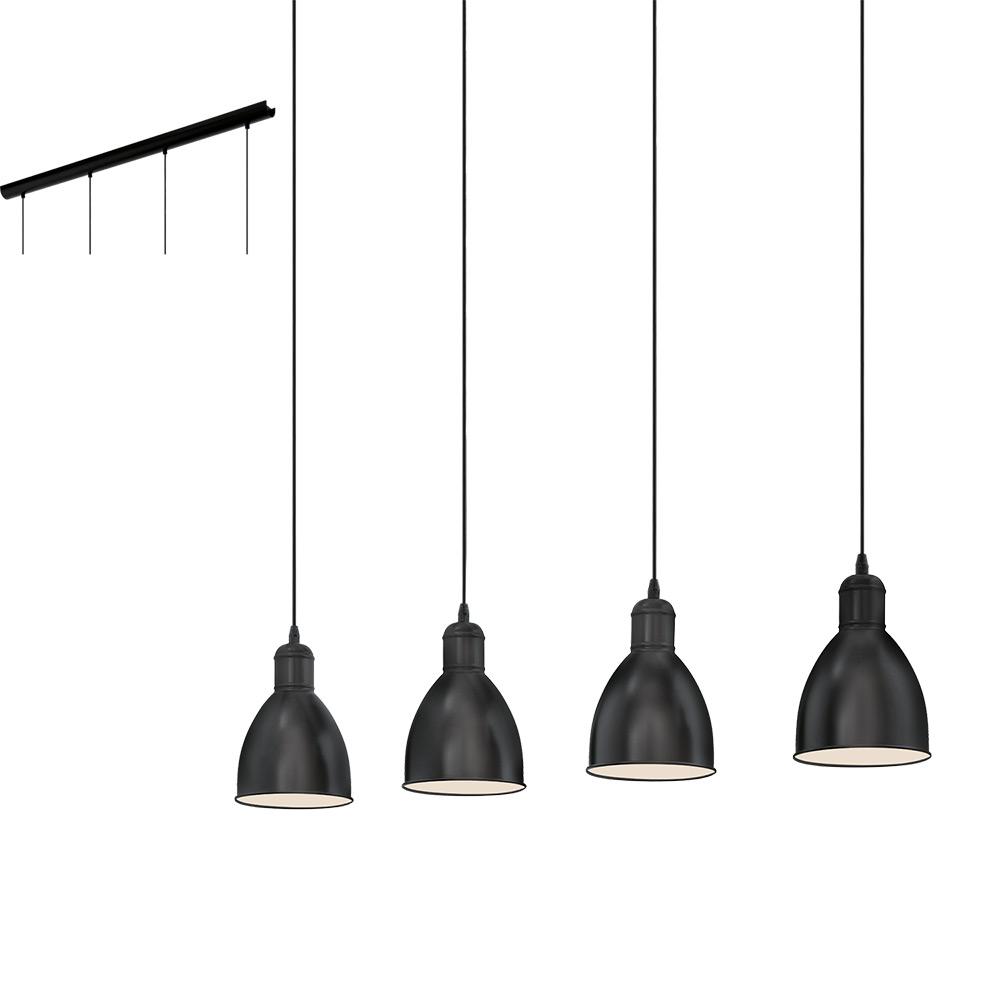 Метален пендел в черно с 4 осветителни тела серия Priddy