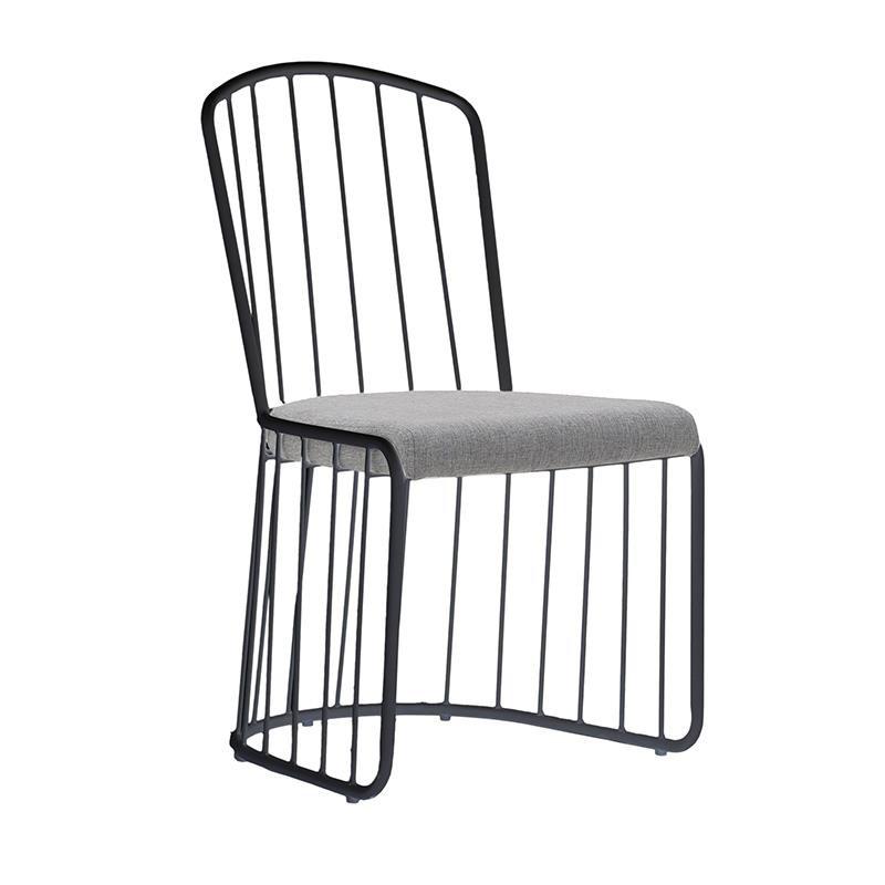 Метален стол с текстилна седалка - черен
