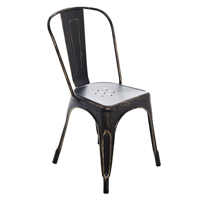 Метален черен стол в индустриален стил
