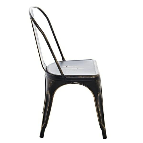 Метален черен стол в индустриален стил - отстрани