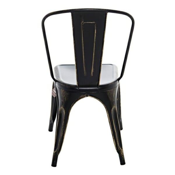 Метален черен стол в индустриален стил - отзад