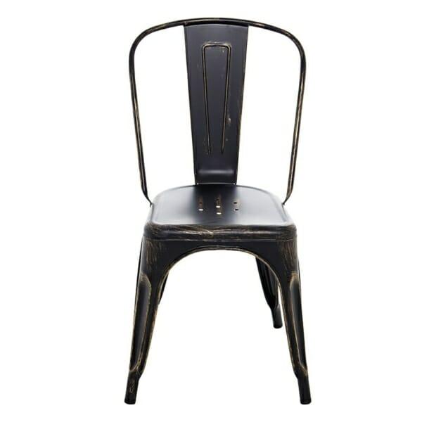 Метален черен стол в индустриален стил - отпред