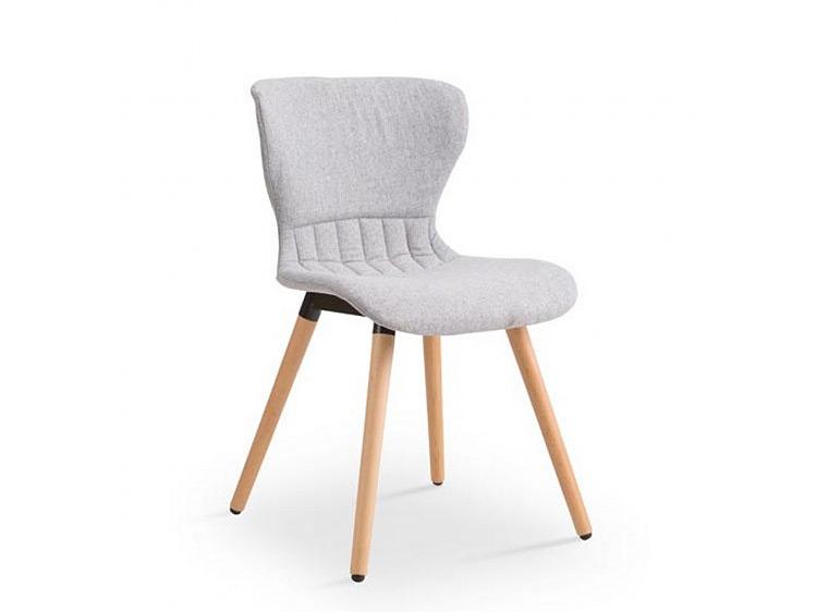 Модерен сив стол с дървени крака