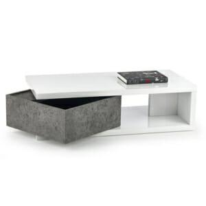 Модерна правоъгълна холна маса в бяло и бетон