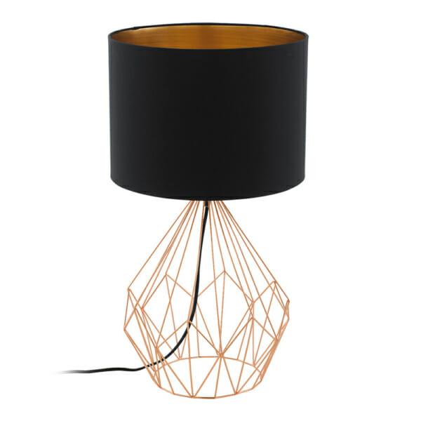 Настолна лампа с геометричен мотив серия Pedregal в цвят мед и черно