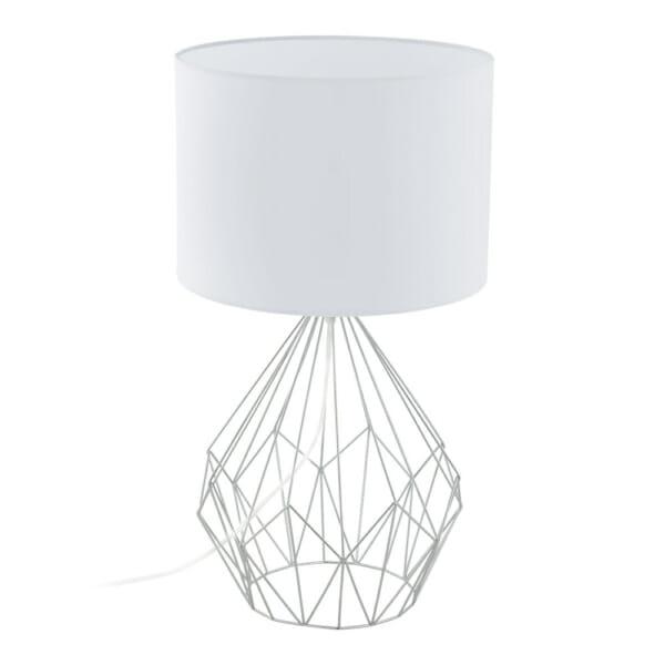 Бяла настолна лампа с геометричен мотив серия Pedregal в цвят хром и бяло