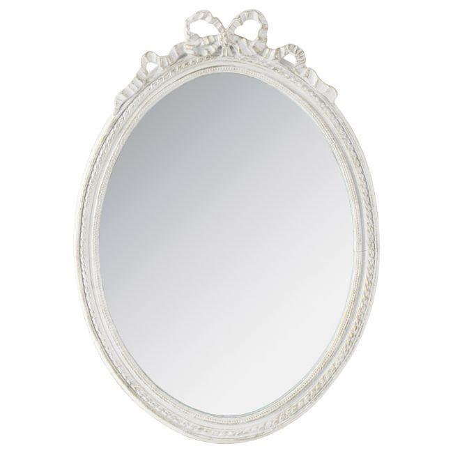 Овално стенно огледало с панделка в бяло