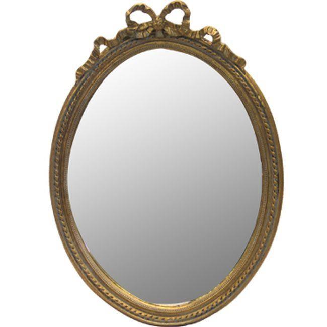 Овално стенно огледало с панделка (2 цвята)