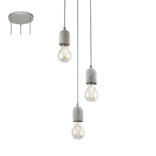 Пендел от бетон с 3 осветителни тела серия Silvares