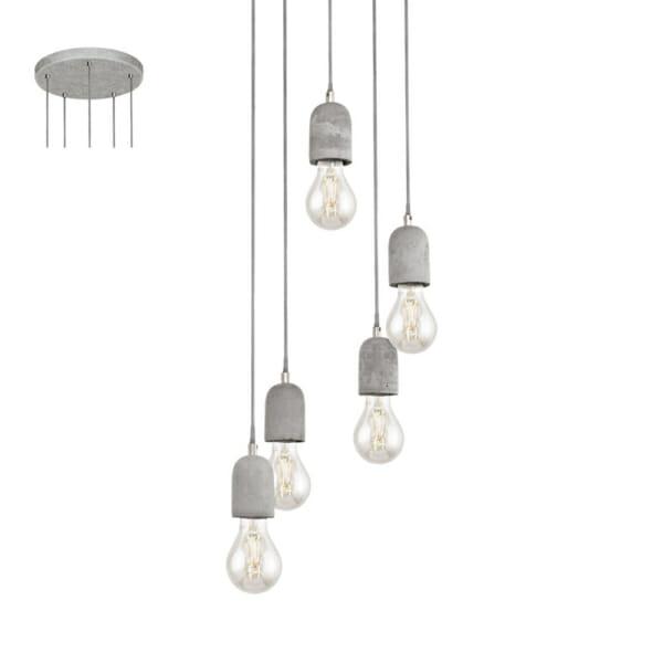 Пендел от бетон с 5 осветителни тела серия Silvares