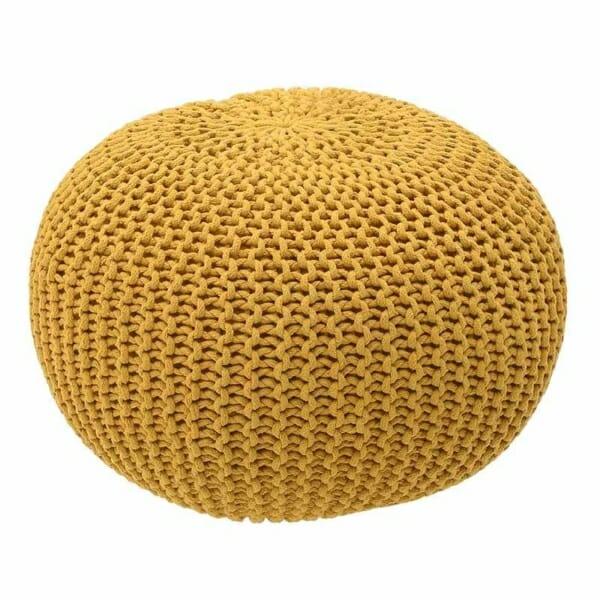 Плетена пуф табуретка в жълто
