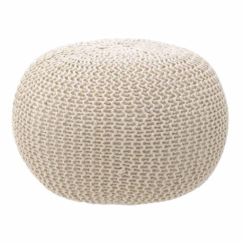 Плетена пуф табуретка в кремав цвят