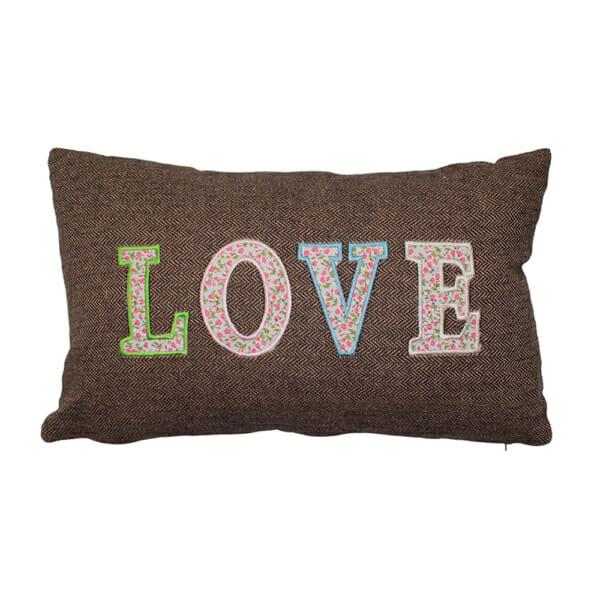 Правоъгълна декоративна възгавничка Love