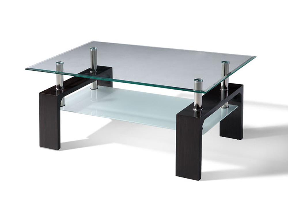 Правоъгълна холна маса със закалено стъкло - цвят венге