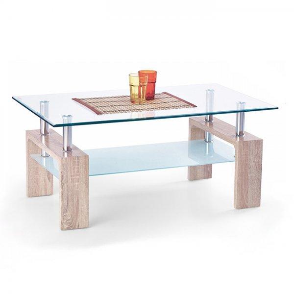 Правоъгълна холна маса със закалено стъкло - цвят дъб сонома