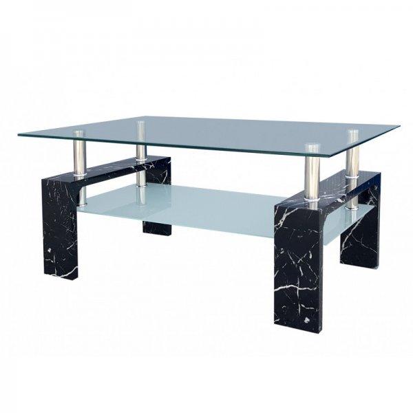 Правоъгълна холна маса със закалено стъкло - цвят мрамор