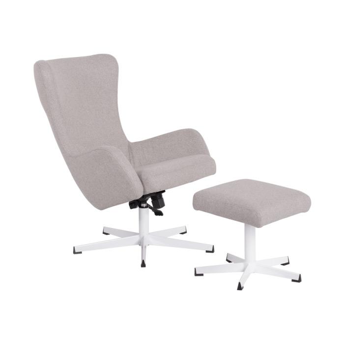 Светло сиво кресло с люлееща функция и табуретка