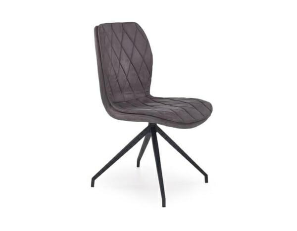Сив стол от еко кожа на ромбове и метална основа