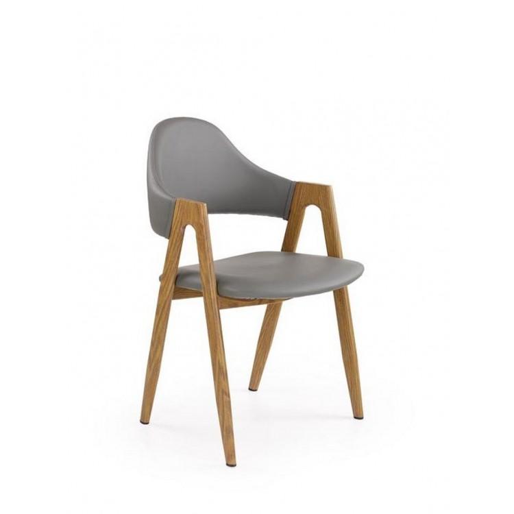 Сив трапезен стол от еко кожа,