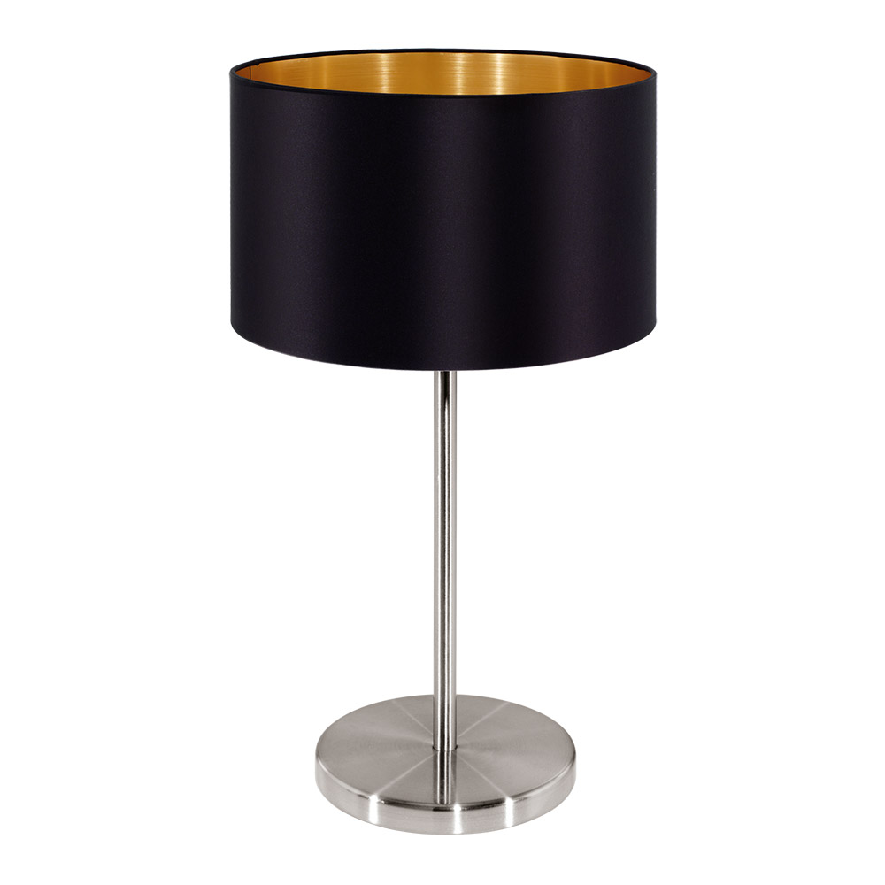 Стилна декоративна настолна лампа в цвят черно и златно серия Maserlo