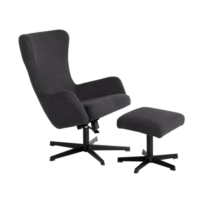 Стилно кресло с люлееща функция и табуретка-асфалтово сиво-снимка с табуретка